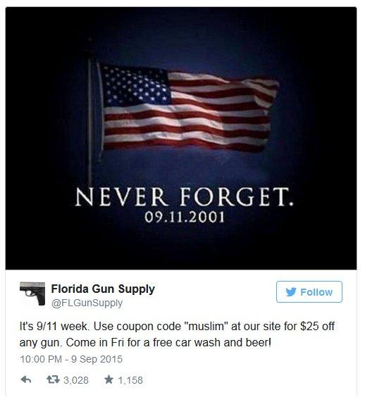 Tweet sklepu z bronią